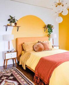 yellow sun wall painting bedroom