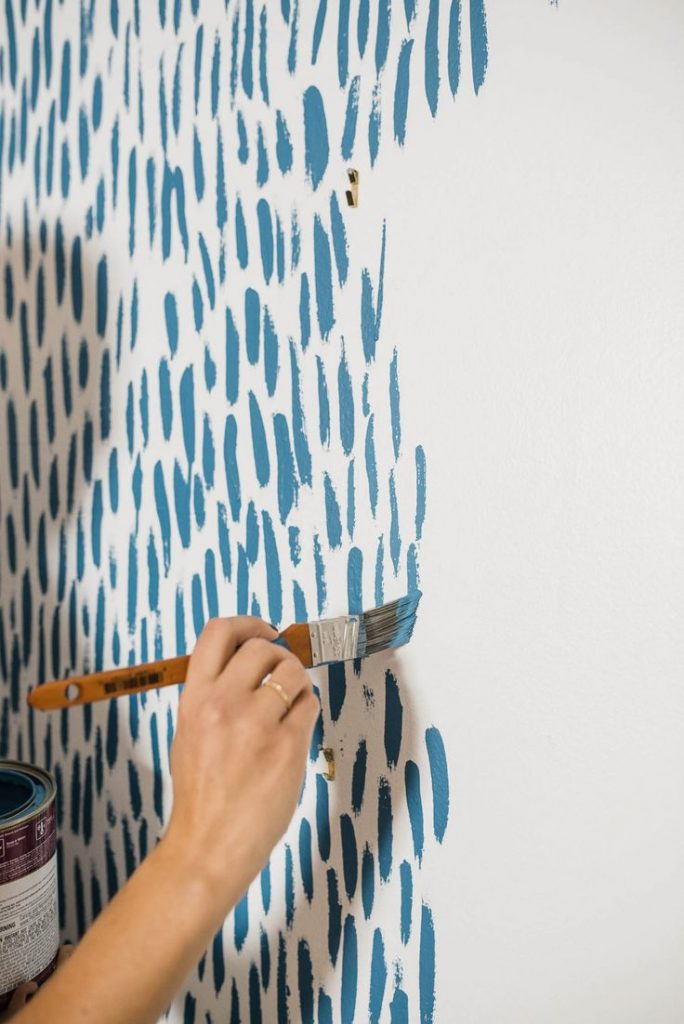 blue and white wall painting diy