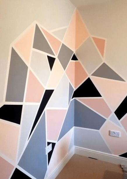 diy pink and neutrals geometrical wall painting