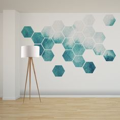 blue hexagon wall stickers