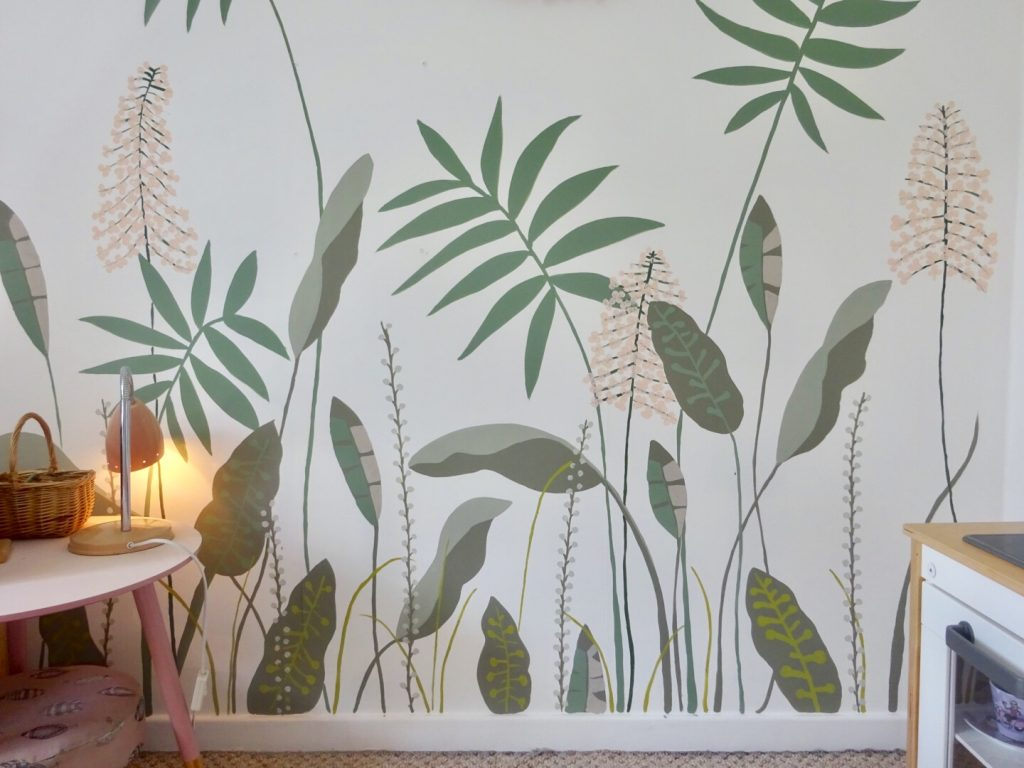 diy leaves and flower wall paintings