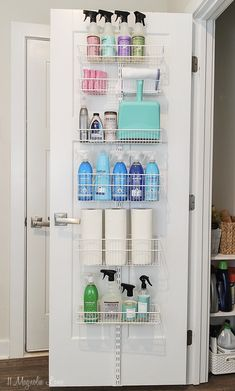 cleaning supplies hanging rack
