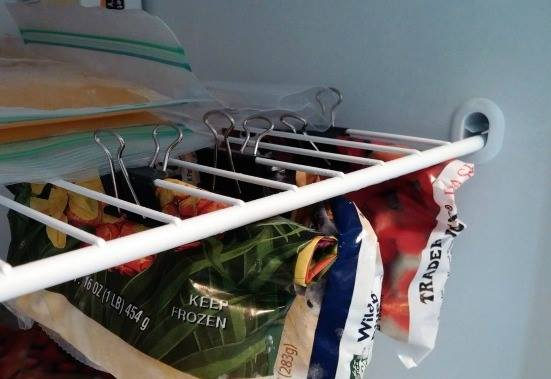 store freezer food with binder clips