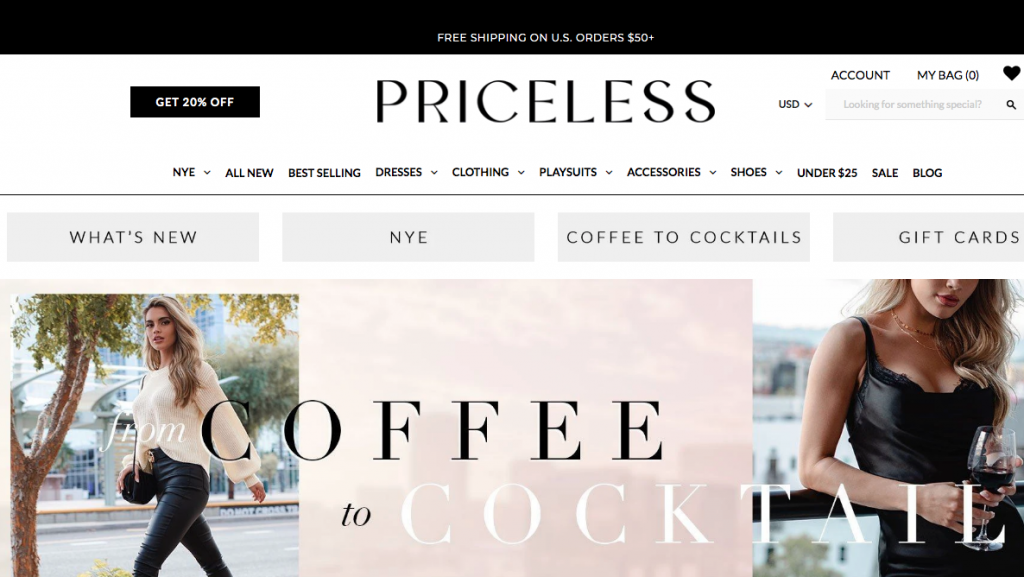 Shop Priceless online clothing